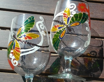 dragonfly hand painted water / drinking / juice glasses set of 2 / handpainted gift glasses / Couple Tumblers / Glassware / glass painting