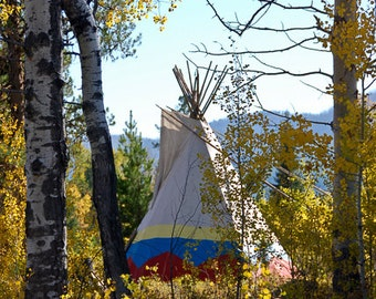 Montana Tipi, Teepee in Autumn Woods, Montana Landscape, Tribal Living, Home Sweet Home, Photograph or Greeting card
