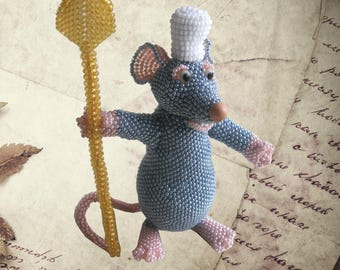 "Pattern / Tutorial Beaded Ornament - Master class for creating""Remy the rat"""