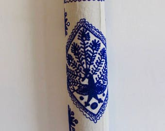 Yoga Mat Bag Pilates Mat Bag handmade White and Royal Blue Peacock with mirror design free UK delivery (b4)