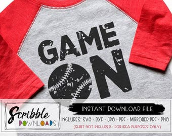 baseball SVG Game Day svg Game On softball dxf svg Cricut Silhouette Cut File sports distressed grunge mom iron on cheer kids girl boy