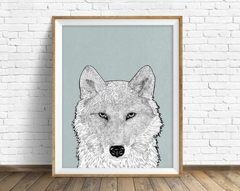 "wolf art print, wall art, woodland animals, wolf wall art, large art, large wall art, gray, modern, minimalist, animal prints -""Timber Wolf"""