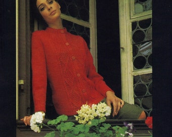 Vintage Knit Pattern - PDF DOWNLOAD 1960s Sweater Pattern, Cardigan Sweater, Knitting Pattern, Style No. 6506 - see description