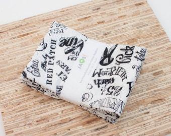 Large Cloth Napkins - Set of 4 - (N4750) - Local Farmer's Market Words Modern Reusable Fabric Napkins