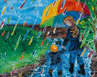 """10"""" x 10"""" (25cm x 25cm)  Rainbow Rain Puddle Jumping """"Puddle Jumping (no. 4)""""  Oil on Canvas Original Fine Art Palette Knife Painting"""