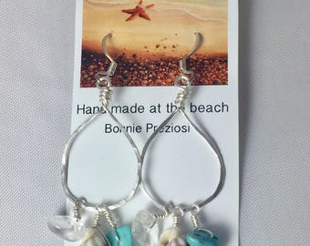 Handmade hammered silverplated wire earrings with shell and gemstones