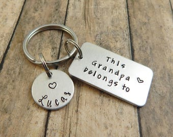 This Grandpa belongs to - Personalized Custom Hand Stamped Keychain - Gift for Grandpa - Grandfather Key Chain - Father's Day