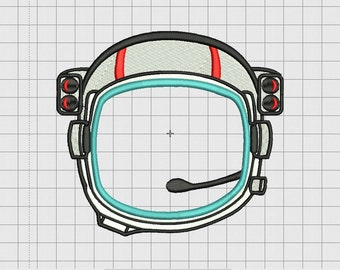 Astronaut Helmet Applique Embroidery Design in 4x4 5x5 6x6 and 7x7 inch Sizes