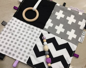 Bold Monochrome & Lilac, Taggie Blanket, Sensory Baby Tactile Teething 30cm, Quality Hand Made