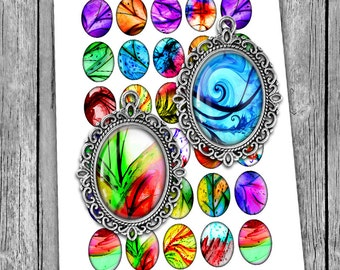 """Beautiful """"Abstract"""" Oval Images 30x40mm, 22x30mm for Cabochons - Digital Collage Sheet - Instant Download"""