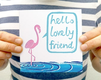 Pink Flamingo Blank Greetings Card - hello lovely friend, cute friendship card, BFF, best friend gift card,  flamingo art,  bird lover