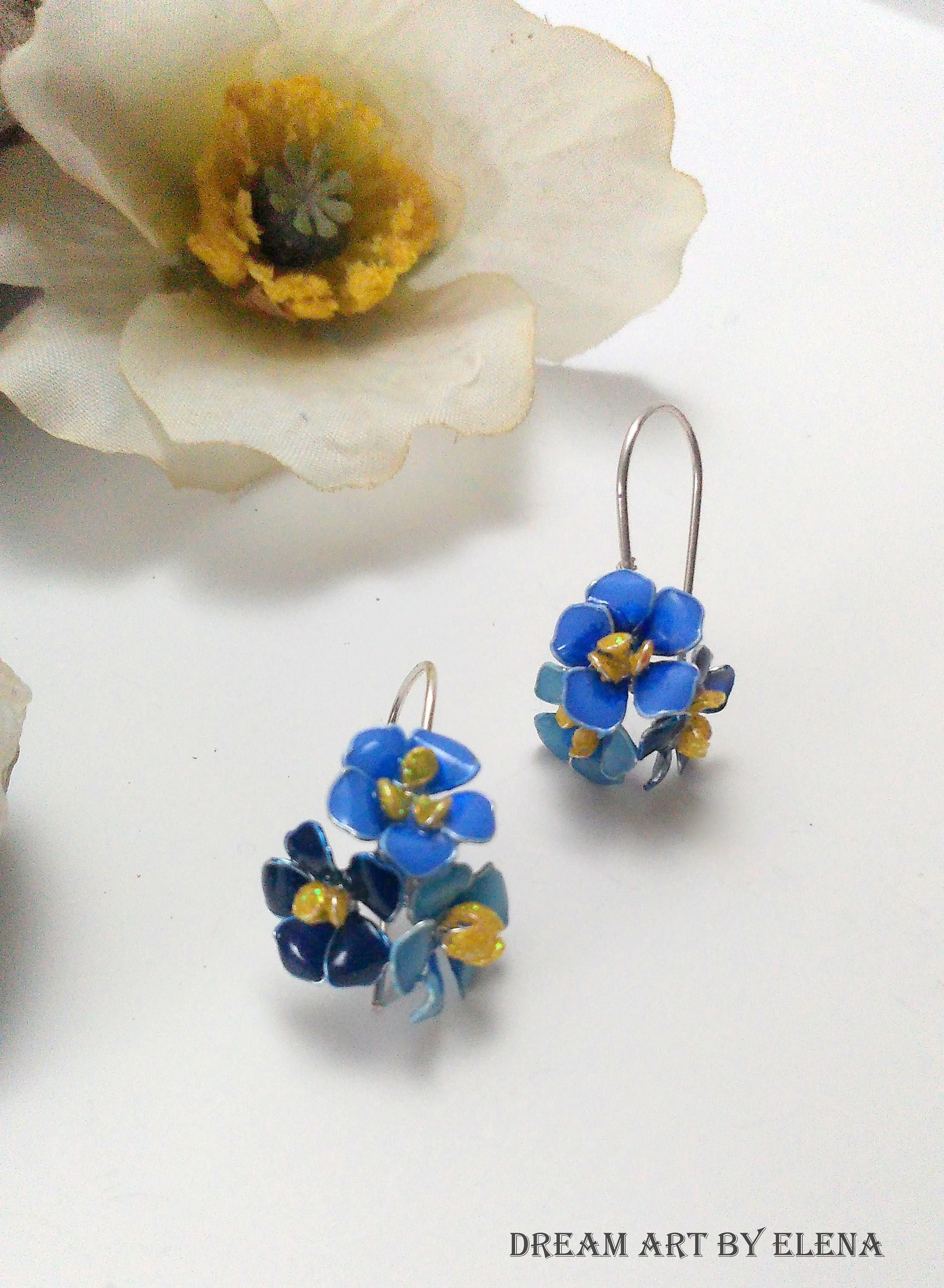 miniature fullxfull earrings zoom blue hand il crystal resin flowers painted hpoc listing