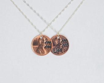 Aquarius Necklace, Aquarius Pendant, Birthday Necklace, Birthday Necklace, Aquarius Birthday, Lucky Penny, Penny Necklace, Birthday Gift