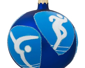 "4"" Swimming, Basketball, Tennis, Gymnastics, Track Olympic Glass Ornament"