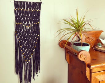 Black macrame wall