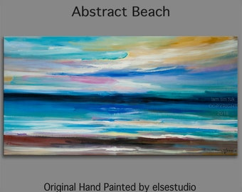 "Original Abstract Painting Wall Art Oil Painting 48""x24"" Canvas  Original Modern Home Deco, Wall Hanging, Surreal Seascape"