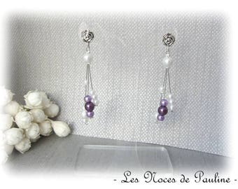 Earrings purple and white asymmetrical Katell