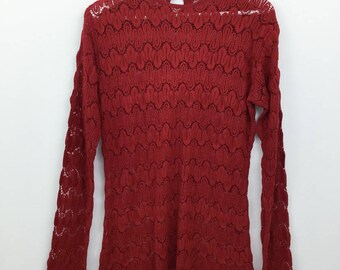 Vintage 90's women's red fine lace knit sweater/ lightweight long cotton sweater jumper/ scalloped edging bell sleeves/ boho lace knit