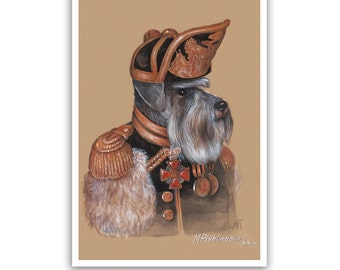 Miniature Schnauzer. The Officer / Schnauzer Art Print / Military Dog Art Gallery of Animal Century