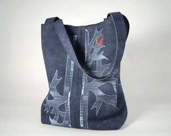 Blue tote with light blue print