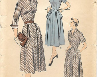 Size 20-1950s Advance 5672 Fitted Bodice Flared Skirt Hip Pocket Dress Vintage Sewing Pattern Bust 38 Unprinted Pattern