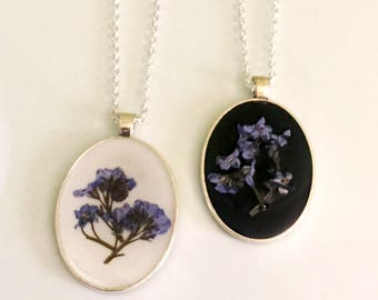 Forget-Me-Not Necklace, Real Flower Pendant Outlander Necklace, Outlander Jewelry forget me not necklace flower alzheimers caregiver pendant