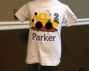 Boy's construction themed birthday shirt