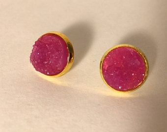 12 mm purple\pink druzy earrings