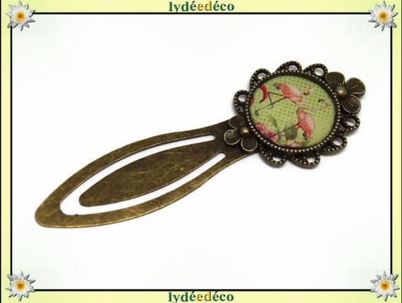 Bookmarks illustration Flamingo flowers in brass and resin, bronze lime green rose motif