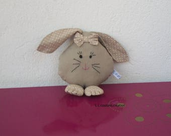 Bunny in beige cotton fabric with white dots