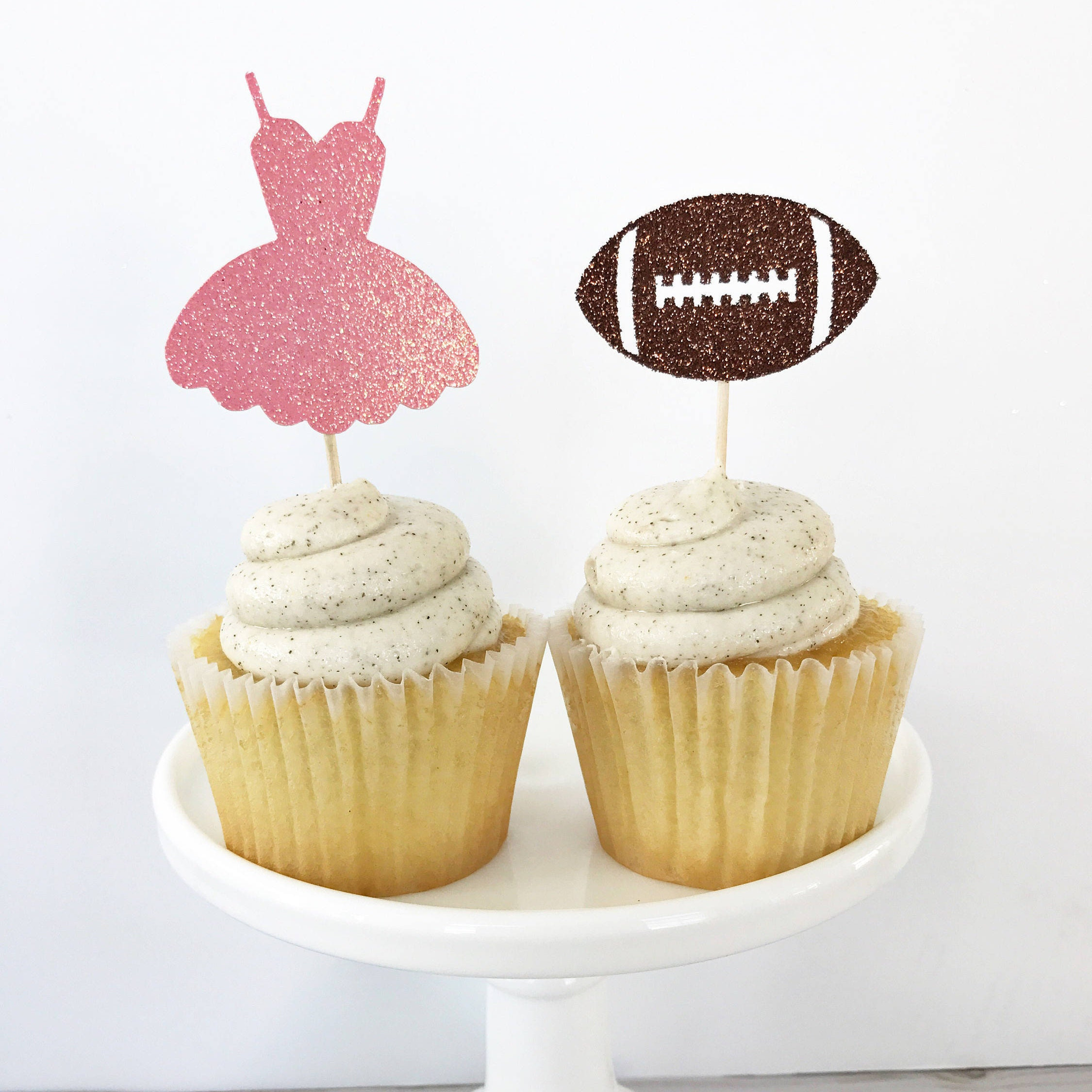Tutus or Touchdowns Cupcake Toppers Gender Reveal Cupcake