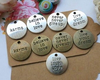 10pc Vintage engraved words charms karma love pendants round beads antique bronze silver necklace pendants jewelry making findings A1371