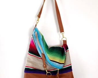Brown Leather and Serape Foldover Crossbody Purse