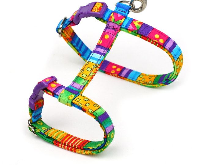 Colorful Cat Harness - Happy Go Lucky Stripe - Large or Small Kitten Size