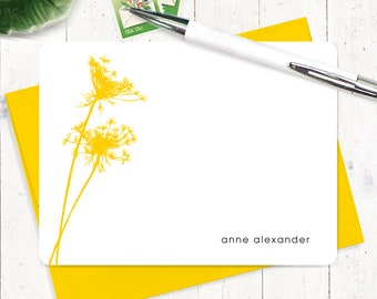 Personalized Note Card Set - personalized stationary - nature stationery - modern cards - set of 12 flat note cards - QUEEN ANNES LACE