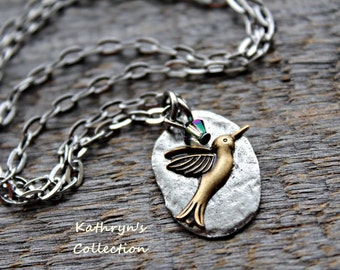 Hummingbird Necklace, Hummingbird Jewelry, Bird Necklace, Bird Jewelry, Gift for Bird Watcher