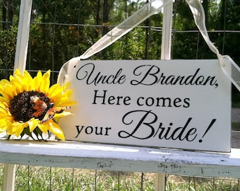 WEDDING SIGNS | Uncle Signs | Here comes your Bride | Flower girl sign | Bride and Groom | Mr and Mrs | Wood Wedding Signs | 6 x 11.5
