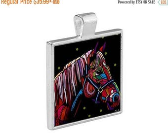 50% SALE- Horse Necklace Folk Art Jewelry - Pendant Metal  Gift Art Heather Galler Gift-  Horse Lovers Abstract Modern Vegan Gifts