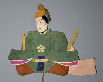 1800's Antique Oshie Japanese Silk Kimono Doll Seated Samurai Oshi-e Okiage Ningyo 31