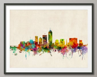 Indianapolis Skyline, Indianapolis Indiana Cityscape Art Print (586)