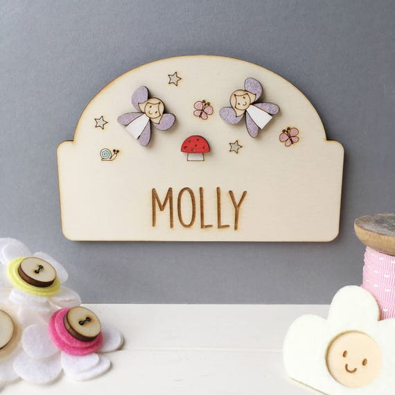 Fairy door plaque - Girls door sign - Personalised name sign - Girls name plaque - new baby gift