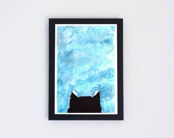 Kitten In The Sky Watercolor Painting, Modern Wall Art Print, Modern Abstract Home Decor, Holiday Gift, Instant Download