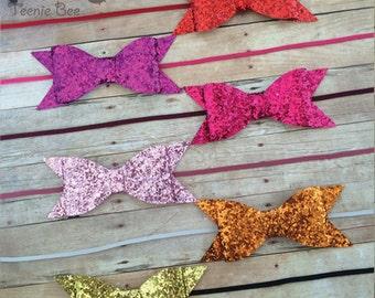 Glitter Bow Headband CHOOSE ONE - Sparkle Bow Headband - Baby Bow Headband - Glitter Bow - Infant Headband - Newborn Headband
