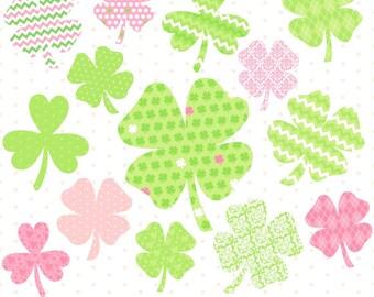 Digital Shamrocks, St Patricks Day Clipart, Shamrock Clipart, St Pattys Day