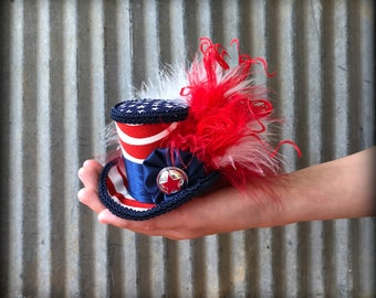 July 4th Mini Top Hat, Patriotic hat, Red White and Blue hat, Alice in Wonderland, Mad hatter hat, Firework Mini Top hat, Mad Tea Party hat