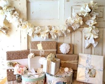 Handmade Wedding Idea. Burlap and Natural Fabric Garland, 6-10 foot banner. Great Wedding or Shower Decoration