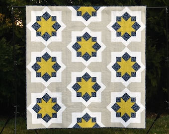 Midnight Mystery Quilt - a Digital pdf Quilt Pattern - a Modern Mystery Quilt in a Lap Size
