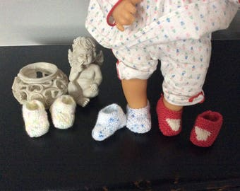 Set of 3 pairs of booties wool baby 30/35 cm corolla, stand