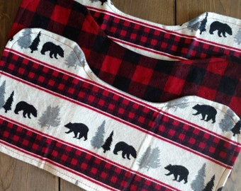 Neck Contoured Burp Cloth-set of 3-Woodland w/ buffalo plaid, birds, or colorful foxes