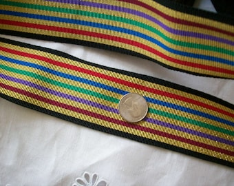 "1 yd. of vintage metallic gold and multi striped grosgrain ribbon 2 "",  more avail."